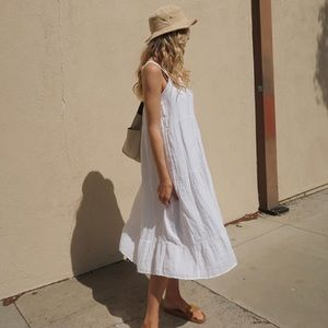 100% Linen White Maxi Summer Dress